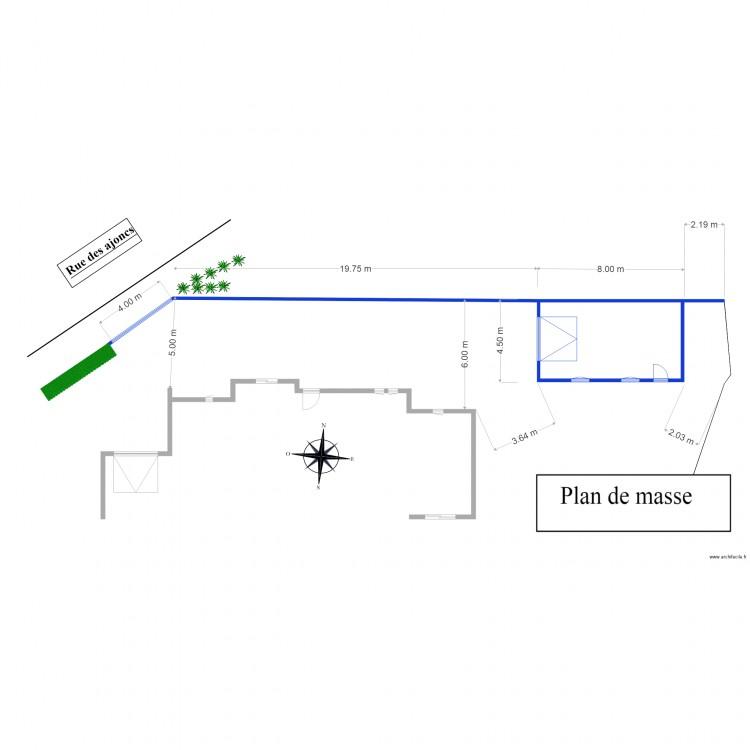 Plan masse 2 plan 1 pi ce 32 m2 dessin par casabar - Dessiner un plan de masse ...