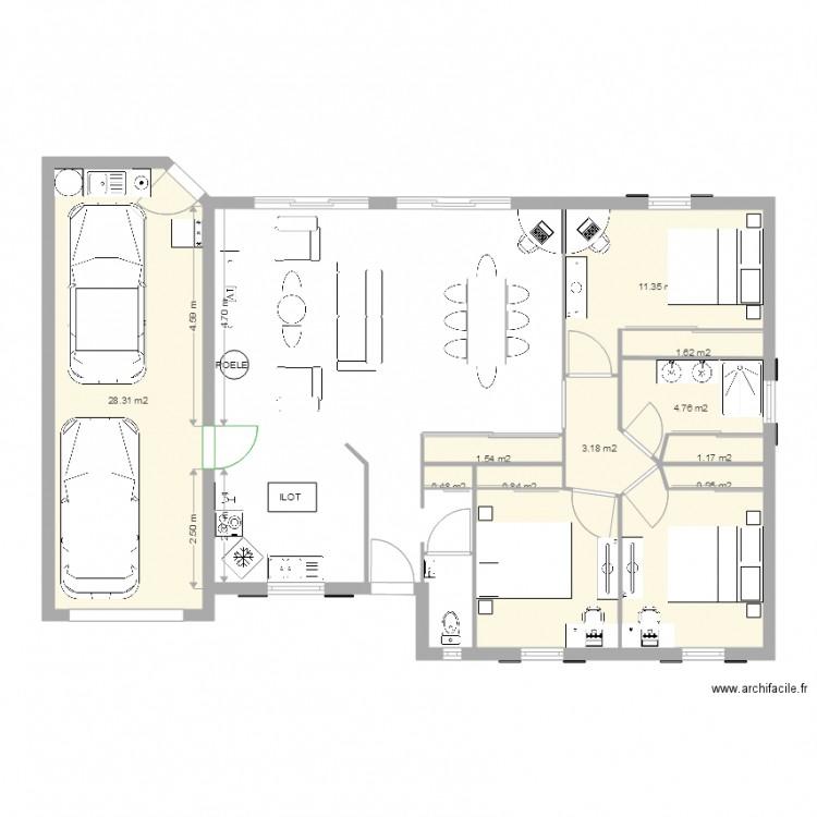 maison garage simple cuisine devant variante plan 12 pi ces 74 m2 dessin par mimicracra85. Black Bedroom Furniture Sets. Home Design Ideas