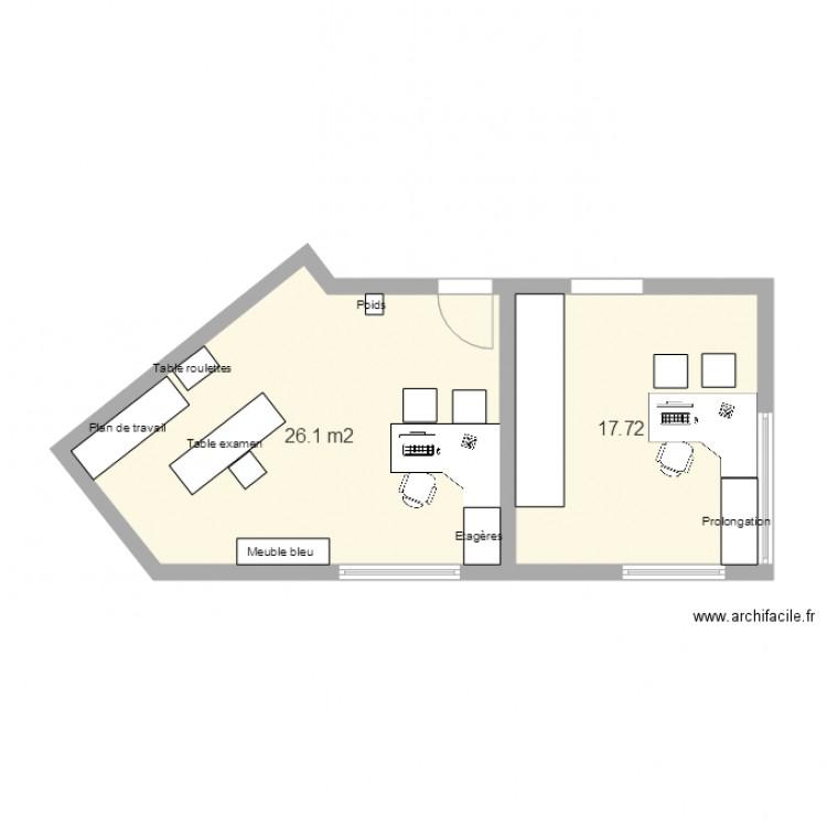 Bureau 1 et secr tariat plan 2 pi ces 44 m2 dessin par for Nombre de m2 par personne bureau