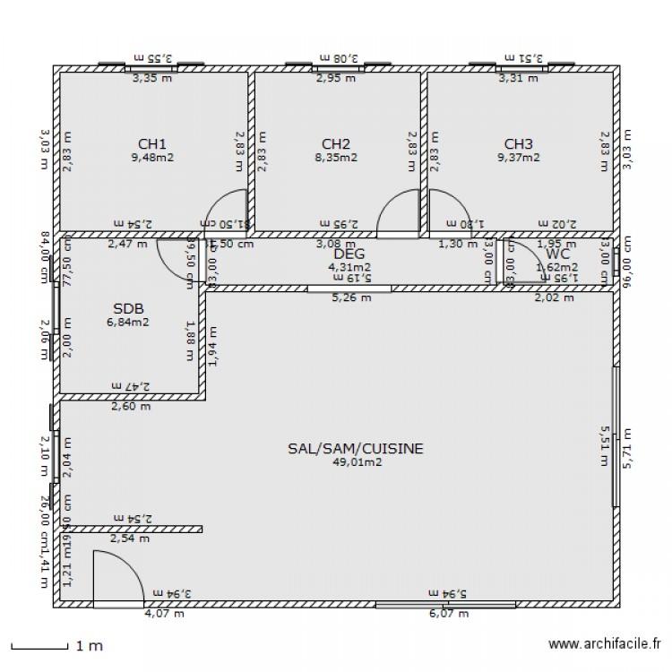 maison type 10m par 10m plan 7 pi ces 89 m2 dessin par florianbibard. Black Bedroom Furniture Sets. Home Design Ideas