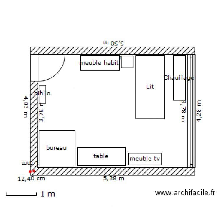 Chambre 19m plan 1 pi ce 19 m2 dessin par lorenzo1090 for Chambre one piece