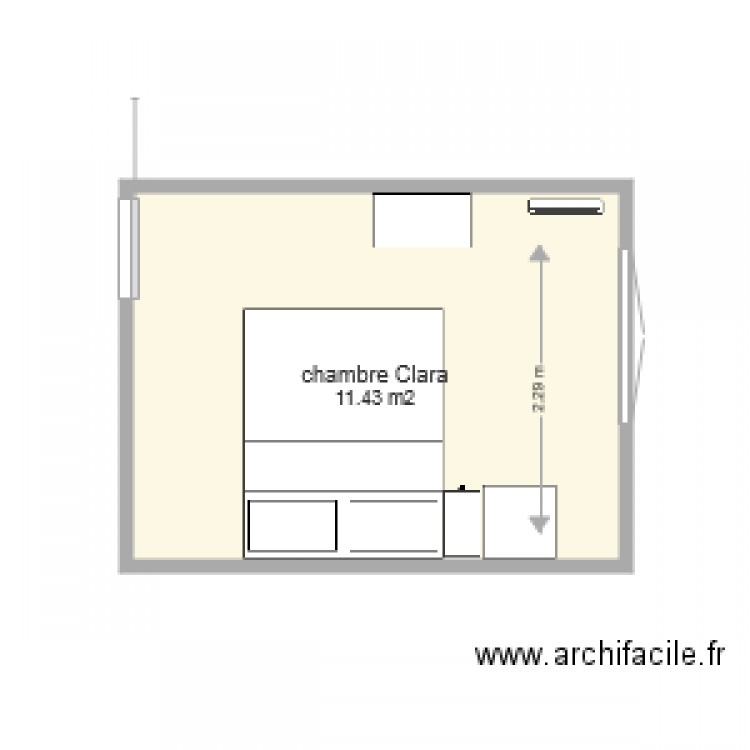 Chambre clara plan 1 pi ce 11 m2 dessin par lou1221 for Chambre one piece