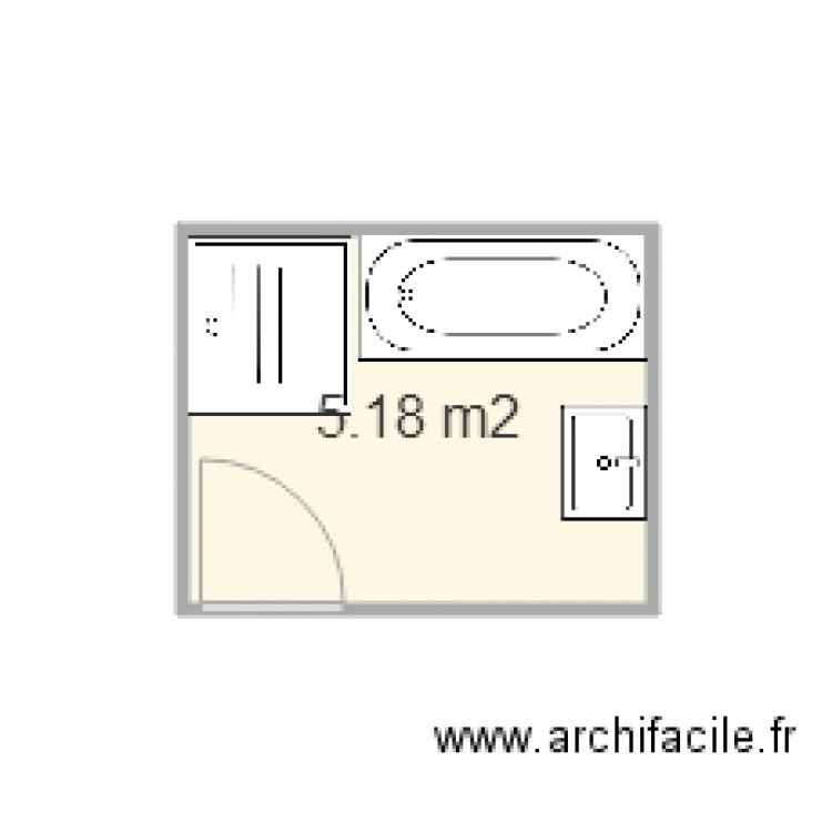 salle de bain pojet 2 plus 65 cm en largeur bainoire 169 plan 1 pi ce 5 m2 dessin par alain. Black Bedroom Furniture Sets. Home Design Ideas
