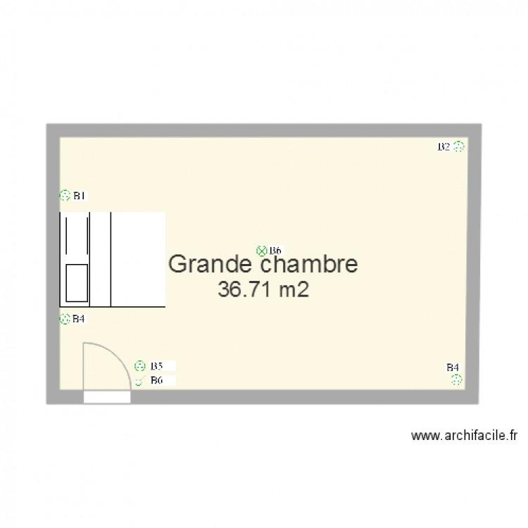 Grande chambre plan 1 pi ce 37 m2 dessin par vincentvst for Chambre one piece