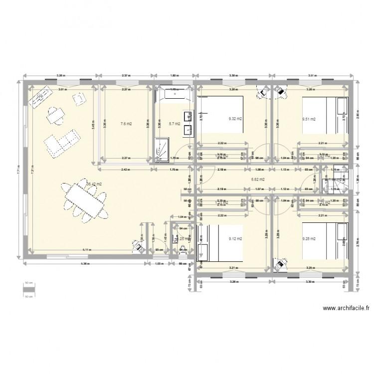 Maison 110m2 2 plan 14 pi ces 101 m2 dessin par bayona64 for Plan maison 110m2