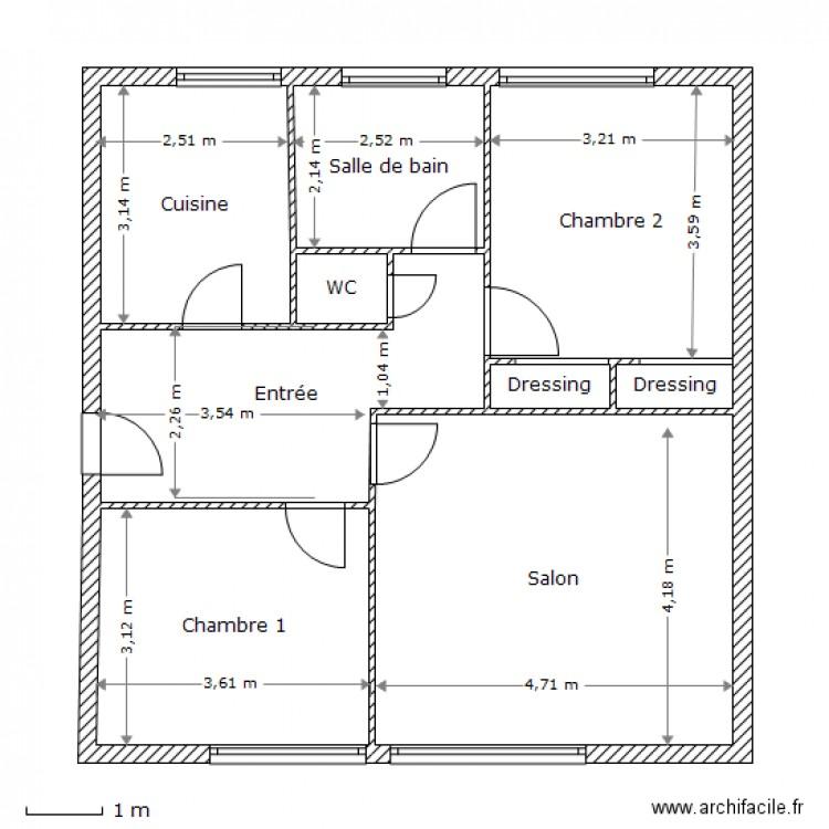 Plan appartement 70 m 3 pieces sevres plan 9 pi ces 70 m2 dessin par npuech1 - Plan petite maison 70 m2 ...