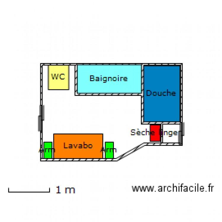 Salle de bain 1 plan 4 pi ces 7 m2 dessin par bakfield for Salle de bain 7 5 m2