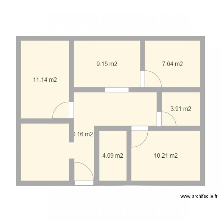 Maison simple plan 7 pi ces 66 m2 dessin par dab88 for Les plans des maisons simples