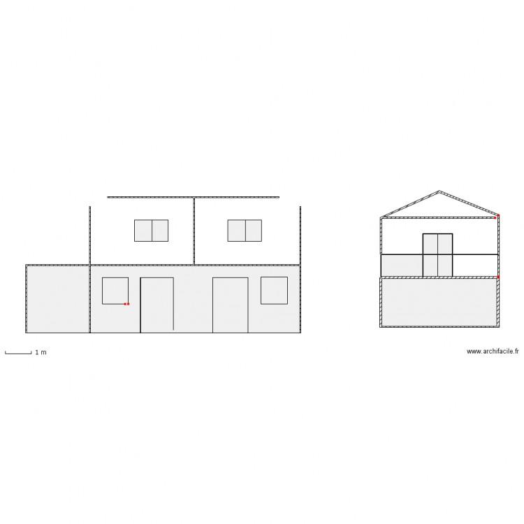 vue fa ade et toiture p2 plan 12 pi ces 42 m2 dessin par pascalalonso. Black Bedroom Furniture Sets. Home Design Ideas