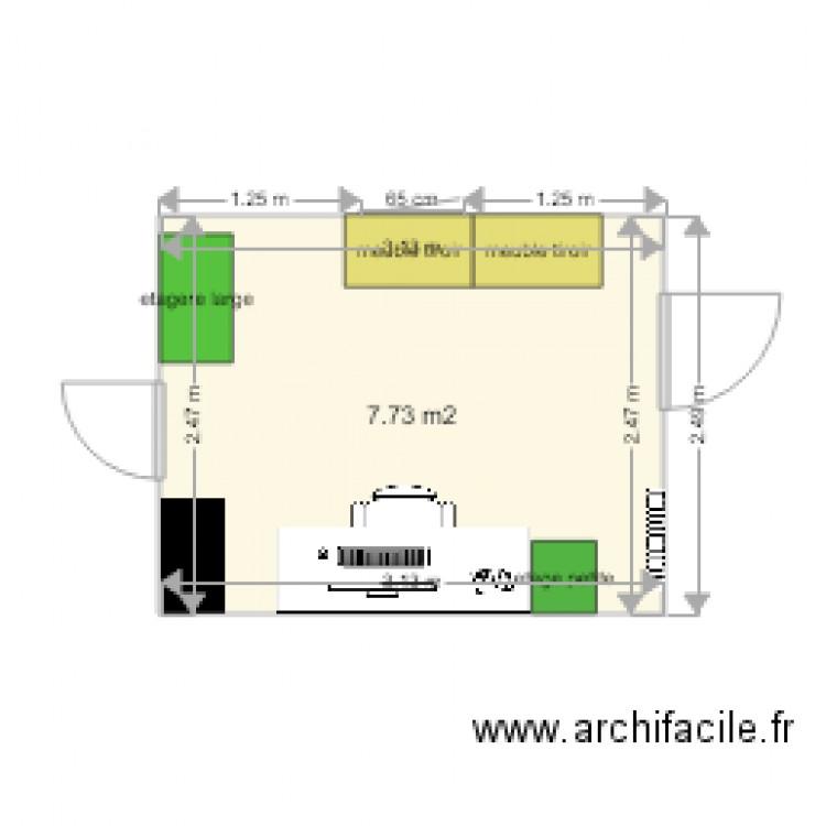 Bureau 2 plan 1 pi ce 8 m2 dessin par marcellin76 for Nombre de m2 par personne bureau