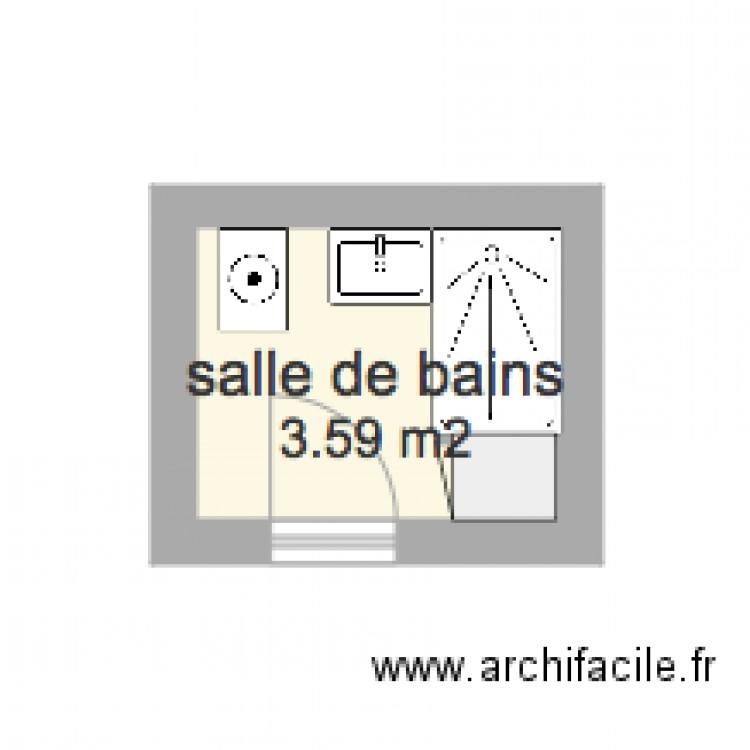 Salle de bains 1 avec coffrage plan 1 pi ce 4 m2 dessin for Salle de bain 4 m2