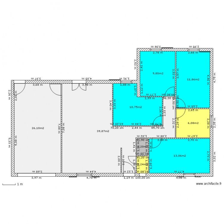 F6 plein pied plan 9 pi ces 120 m2 dessin par moineau - Plan appartement 120 m2 ...