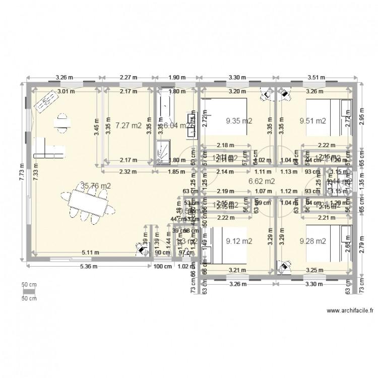 Maison 110m2 1 plan 15 pi ces 101 m2 dessin par bayona64 for Plan maison 110m2