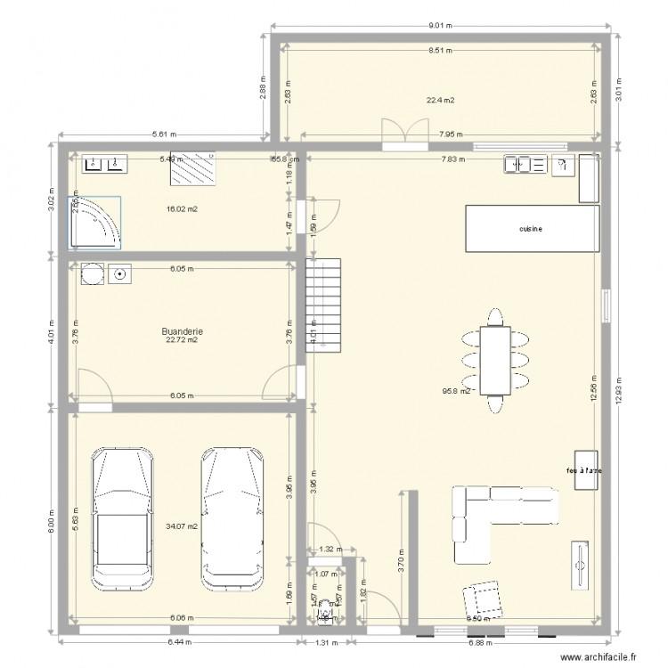plan test 1502 avec toilette en entr e plan 6 pi ces 193 m2 dessin par jcourtois. Black Bedroom Furniture Sets. Home Design Ideas