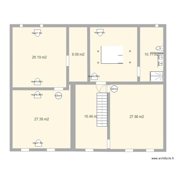 Plan combles am nag s montlaur plan 7 pi ces 137 m2 dessin par gadlinette for Plan combles amenages