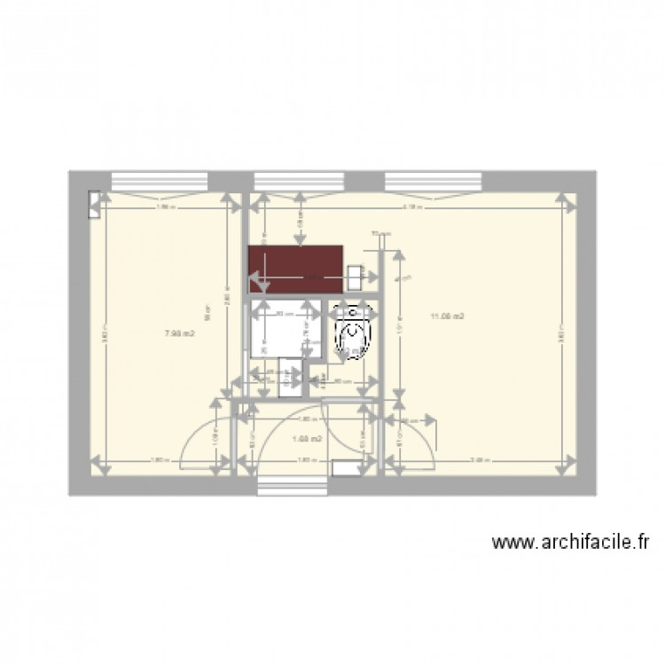 schulmann plan 2d projet d finitif v2 vierge plan 4 pi ces 22 m2 dessin par soleil4475. Black Bedroom Furniture Sets. Home Design Ideas