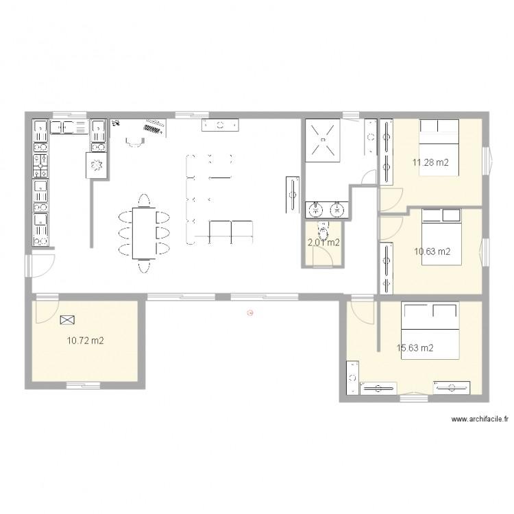 Plan maison 1 plan 5 pi ces 50 m2 dessin par asu for Plan de maison 5 pieces