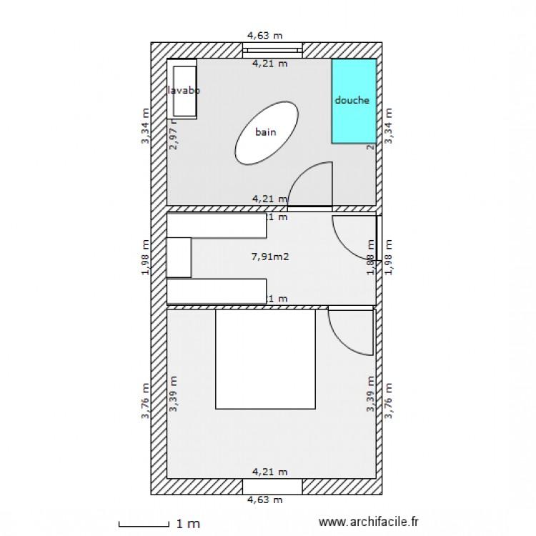 salle de bain dressing chambre plan 3 pi ces 35 m2 dessin par valerie84210. Black Bedroom Furniture Sets. Home Design Ideas