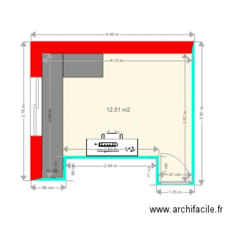Bureau plan 1 pi ce 13 m2 dessin par archipat76 for Nombre de m2 par personne bureau