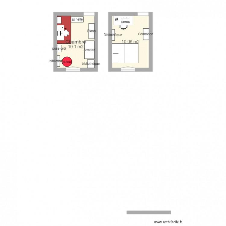 am nagement chambre plan 2 pi ces 20 m2 dessin par alinealexandre. Black Bedroom Furniture Sets. Home Design Ideas