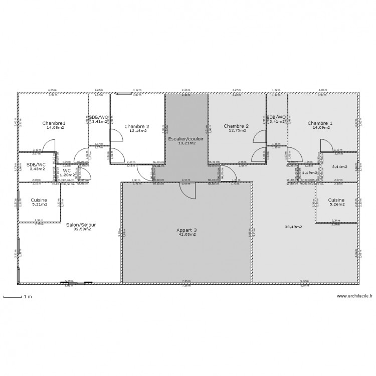Immeuble etage courant plan 16 pi ces 200 m2 dessin par for Construire votre propre immeuble