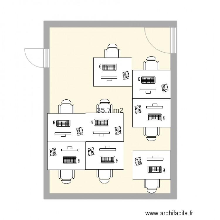 Plan bureau plan 1 pi ce 36 m2 dessin par jtillaud for Nombre de m2 par personne bureau