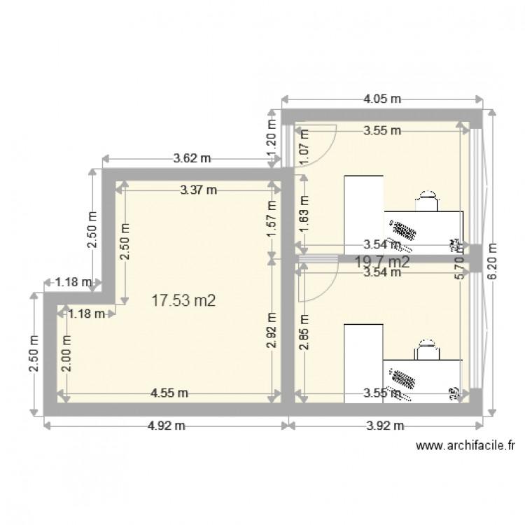 Bureau meyrin plan 2 pi ces 37 m2 dessin par dhuguelet for Nombre de m2 par personne bureau