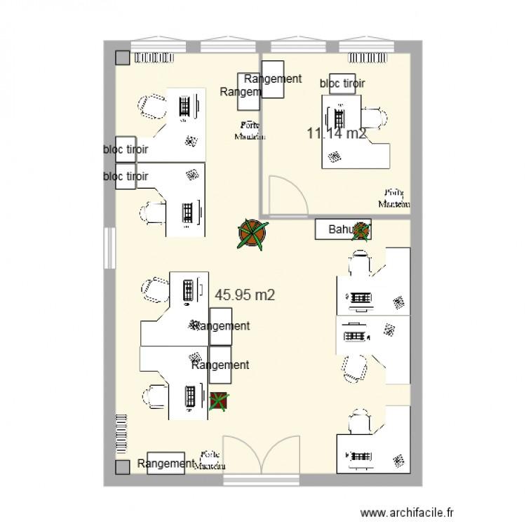 Bureau adv apr s travaux2 plan 2 pi ces 57 m2 dessin for Nombre de m2 par personne bureau