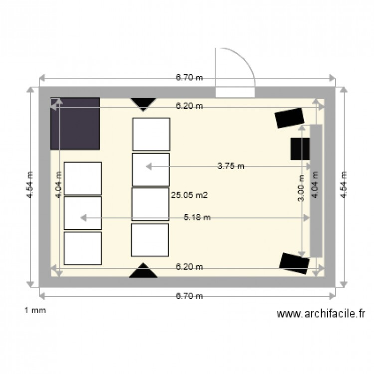 home cinema 3 plan 1 pi ce 25 m2 dessin par fxassur. Black Bedroom Furniture Sets. Home Design Ideas