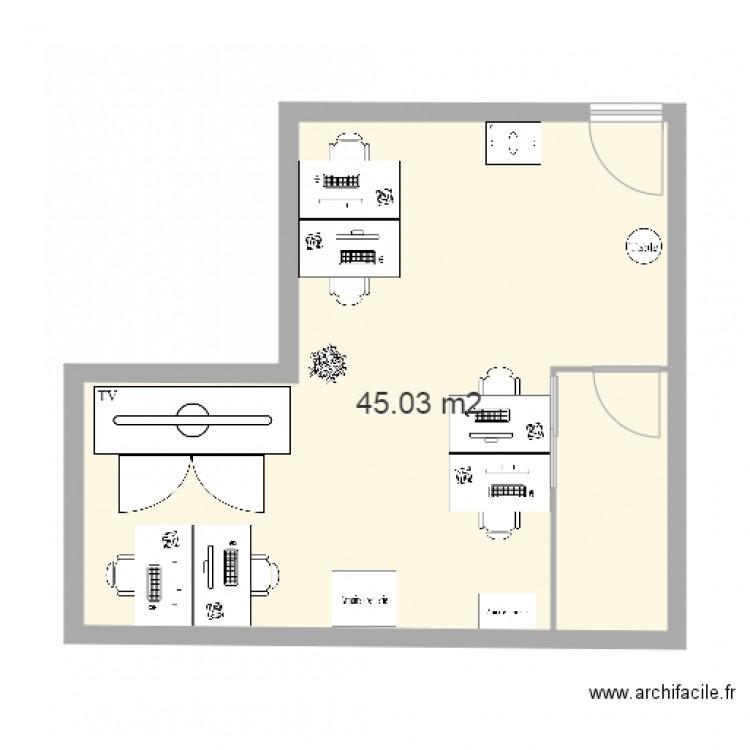 Bureau idl avant plan 1 pi ce 45 m2 dessin par isssabelle for Nombre de m2 par personne bureau