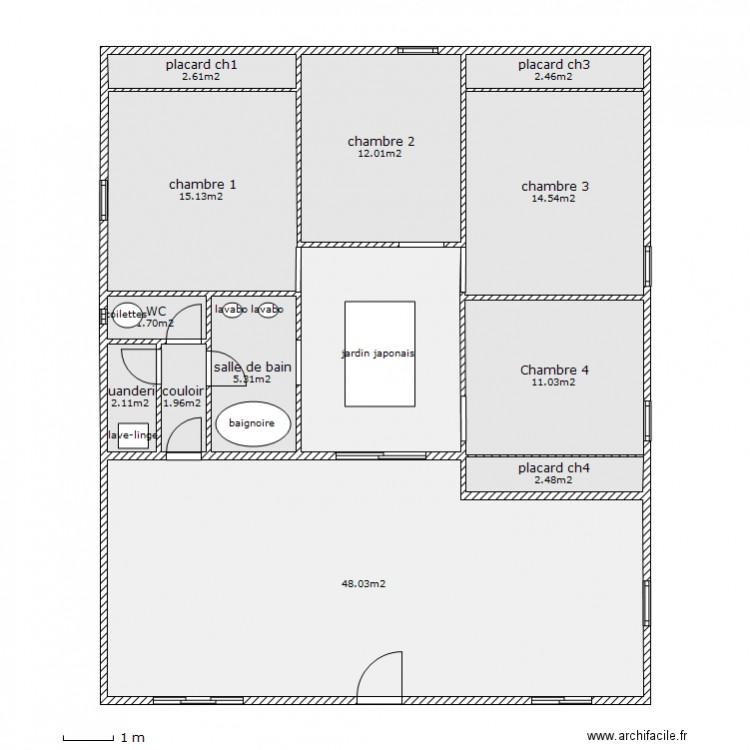 Maison avec jardin japonais plan 13 pi ces 132 m2 dessin par lioneljorand for Plan jardin japonais