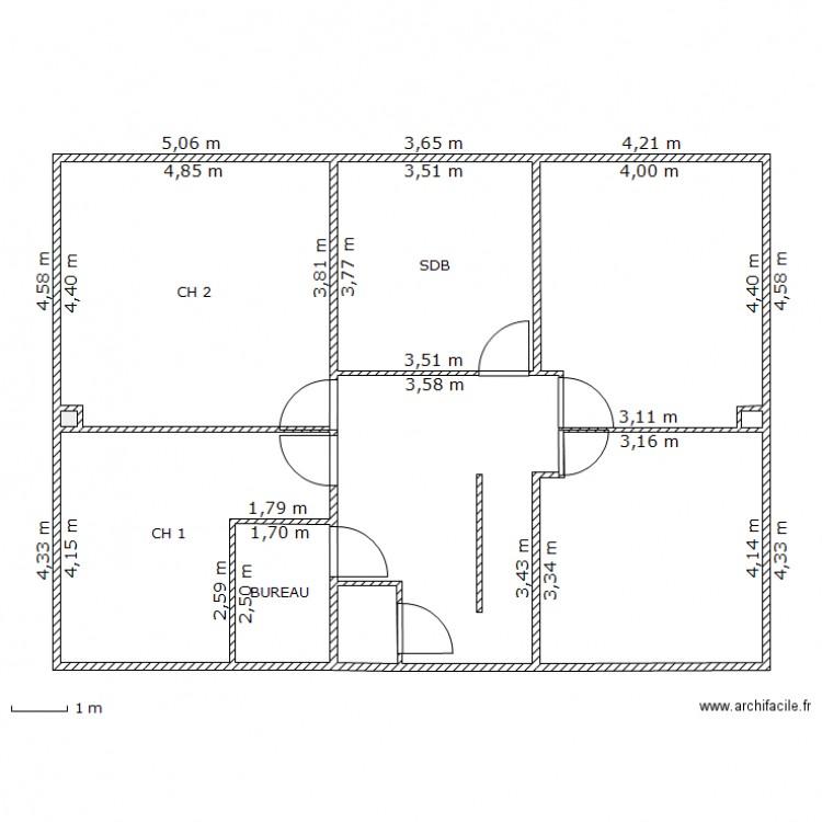 Plan maison ls 3 1 plan 5 pi ces 53 m2 dessin par for Plan de maison 5 pieces
