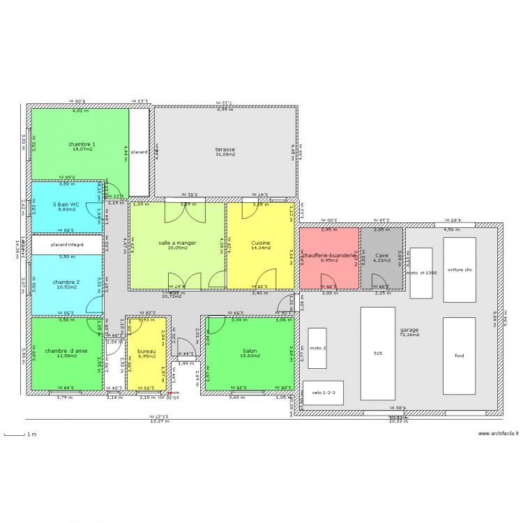 Maison 5 pieces en l 2 plan 15 pi ces 254 m2 dessin par for Plan de maison 5 pieces