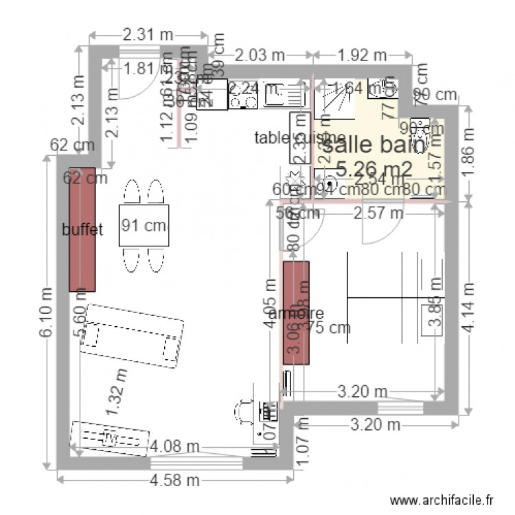 lgc plan 1 pi ce 5 m2 dessin par alainlion. Black Bedroom Furniture Sets. Home Design Ideas
