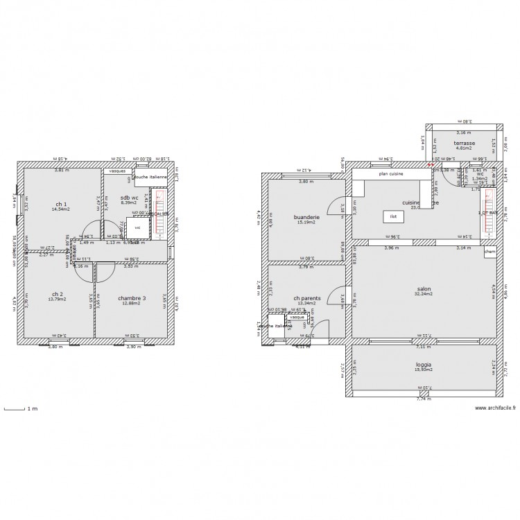 Maison etage pignans 4 chambres plan 12 pi ces 162 m2 for Plan maison etage 4 chambres 1 bureau