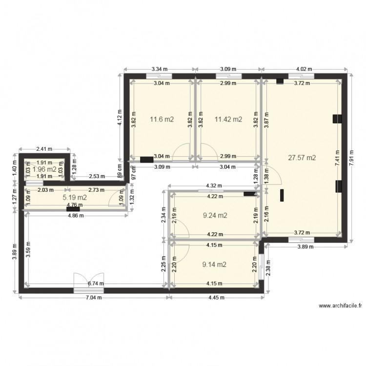 Separation du bureau plan 7 pi ces 76 m2 dessin par med ali for Nombre de m2 par personne bureau