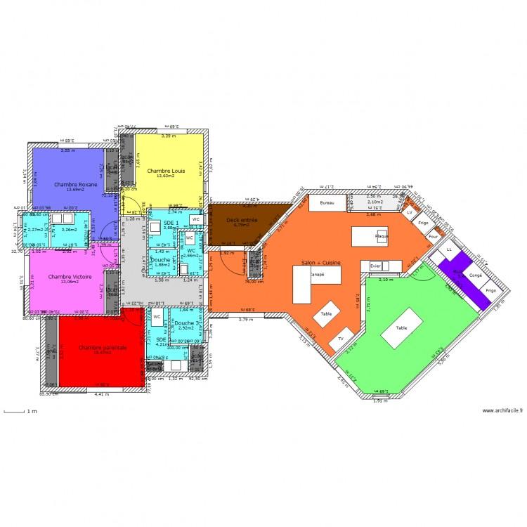 Villa f5 bis plan 24 pi ces 183 m2 dessin par mimicnc for Plan de maison f5