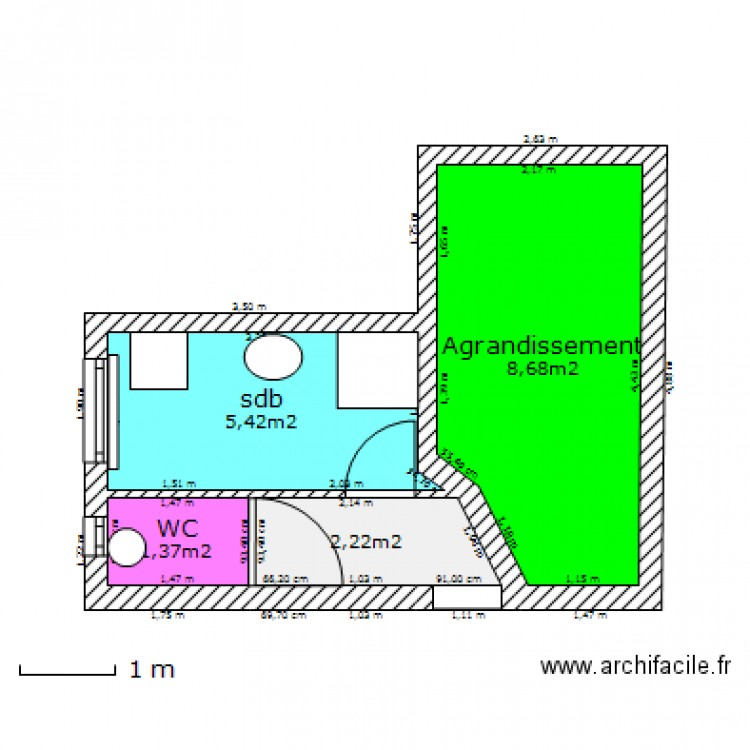 salle de bain actuelle plan 4 pi ces 18 m2 dessin par romain6282. Black Bedroom Furniture Sets. Home Design Ideas