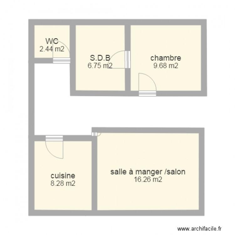 Maison plan 5 pi ces 43 m2 dessin par louis farina for Plan de maison 5 pieces