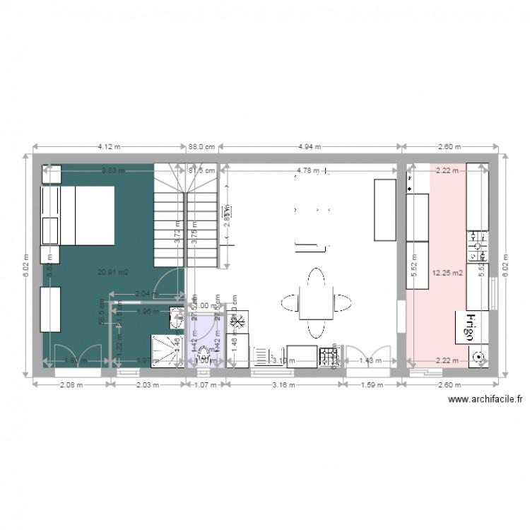 Am nagement garage plan 3 pi ces 35 m2 dessin par bermat34 for Amenagement de garage en piece habitable