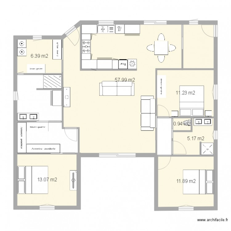 Plan maison u plan 7 pi ces 107 m2 dessin par babyluc - Maison en u plan ...