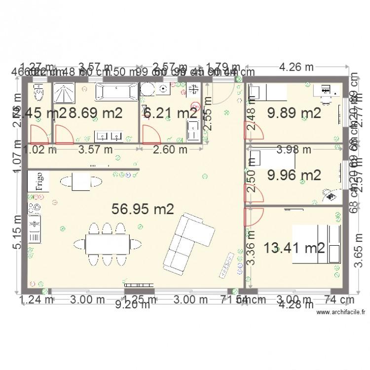 Maison de montign plan 7 pi ces 108 m2 dessin par for Meuble tv yvan