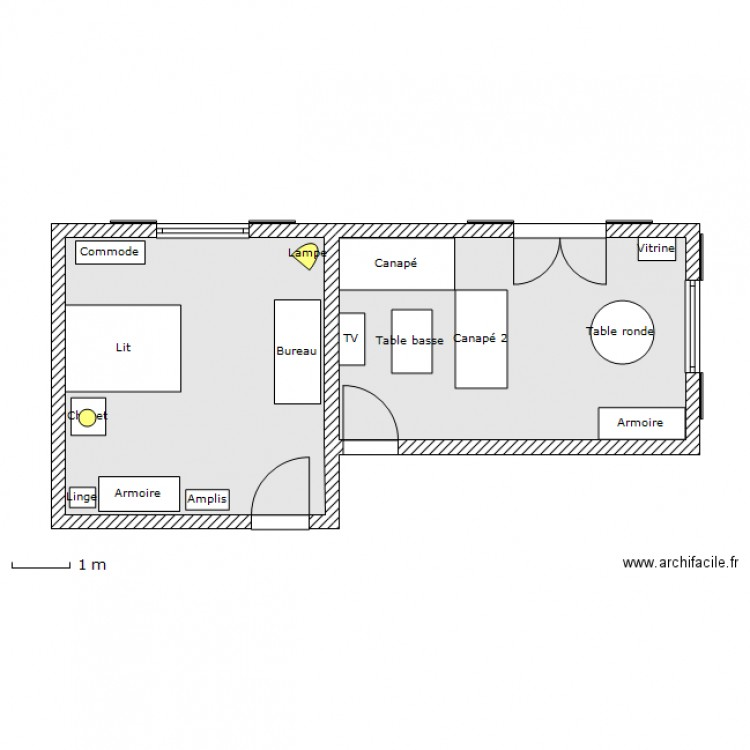 chambre coucher salon plan 2 pi ces 42 m2 dessin. Black Bedroom Furniture Sets. Home Design Ideas