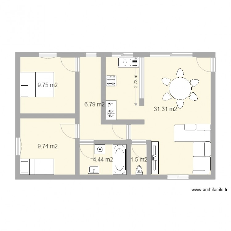 maison 2 70m plan 6 pi ces 64 m2 dessin par damiend380. Black Bedroom Furniture Sets. Home Design Ideas