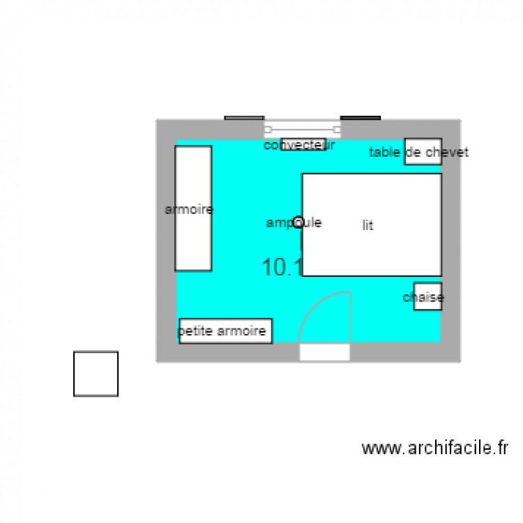 Chambre plan 1 pi ce 10 m2 dessin par cecilelamu40 for Piscine b24
