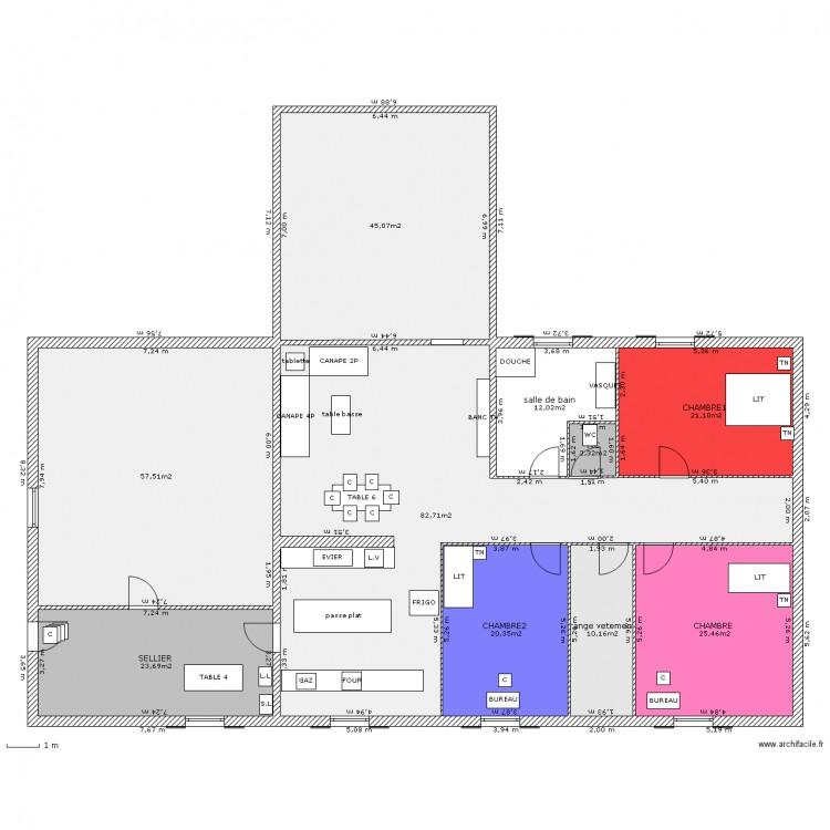 Maison meubl e plus plan 10 pi ces 300 m2 dessin par for Plan maison 300m2