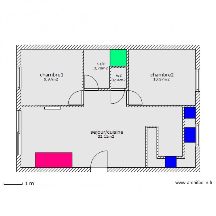 Maison 3pieces plan 5 pi ces 58 m2 dessin par manolodenimes for Plan de maison 5 pieces