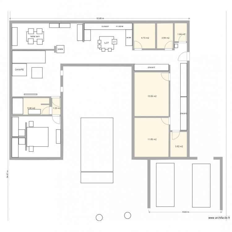 Maison u avec patio plan 8 pi ces 45 m2 dessin par parteno - Maison en u avec piscine ...