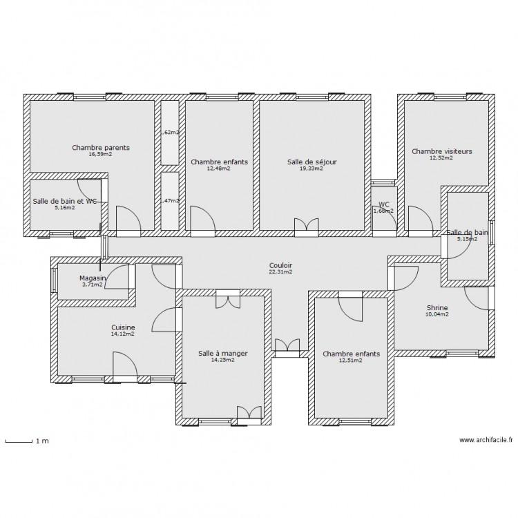Maison familiale plan 15 pi ces 153 m2 dessin par dieusai for Taille moyenne maison
