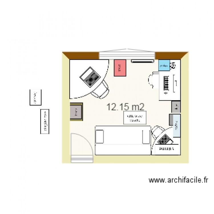 Bureau dans chambre plan 1 pi ce 12 m2 dessin par bandy34 for Nombre de m2 par personne bureau